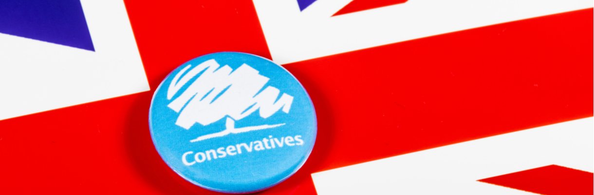 Conservative Party button on UK flag